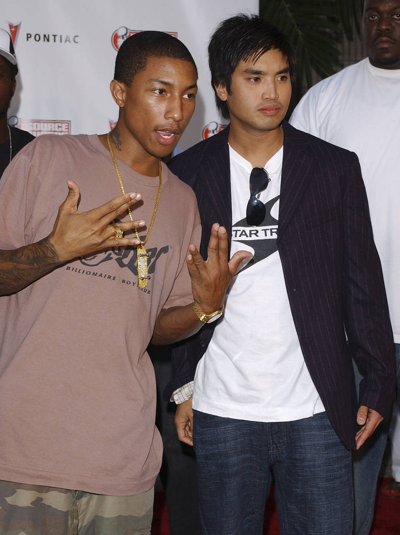 Producers Pharrell Williams and Chad Hugo of the Neptunes arrive at The Source Hip-Hop Music Awards 2003 at the Miami Arena on October 13, 2003 in Miami, Florida. The show will air on the BET network on November 11, 2003 at 8:00 p.m.