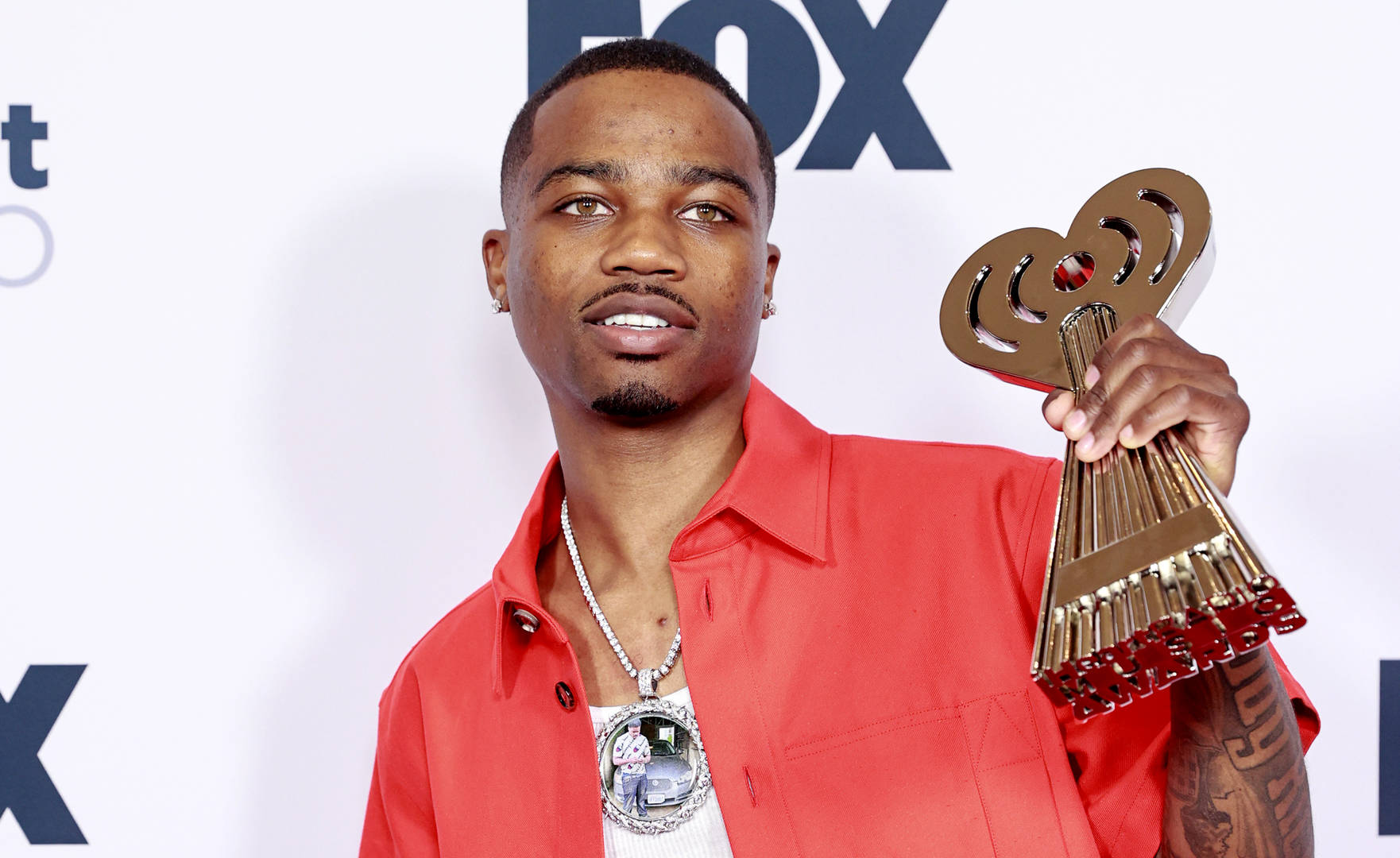 Roddy Ricch, winner of the Hip-Hop Artist of the Year and Best New Hip-Hop Artist awards, attends the 2021 iHeartRadio Music Awards at The Dolby Theatre in Los Angeles, California, which was broadcast live on FOX on May 27, 2021.