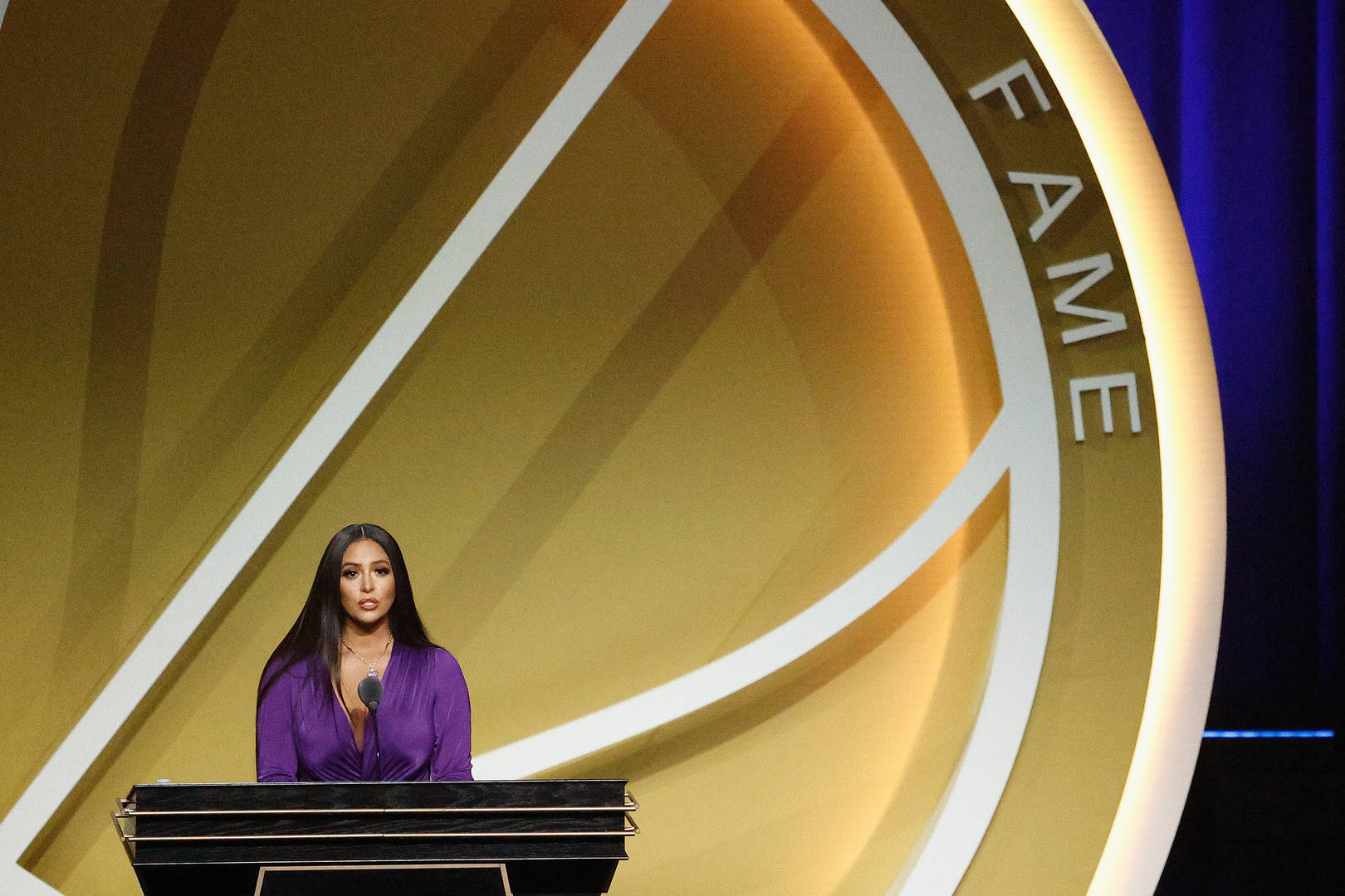 anessa Bryant speaks on behalf of Class of 2020 inductee, Kobe Bryant during the 2021 Basketball Hall of Fame Enshrinement Ceremony at Mohegan Sun Arena on May 15, 2021 in Uncasville, Connecticut. Kobe Bryant tragically died in a California helicopter crash on Jan 26, 2020.