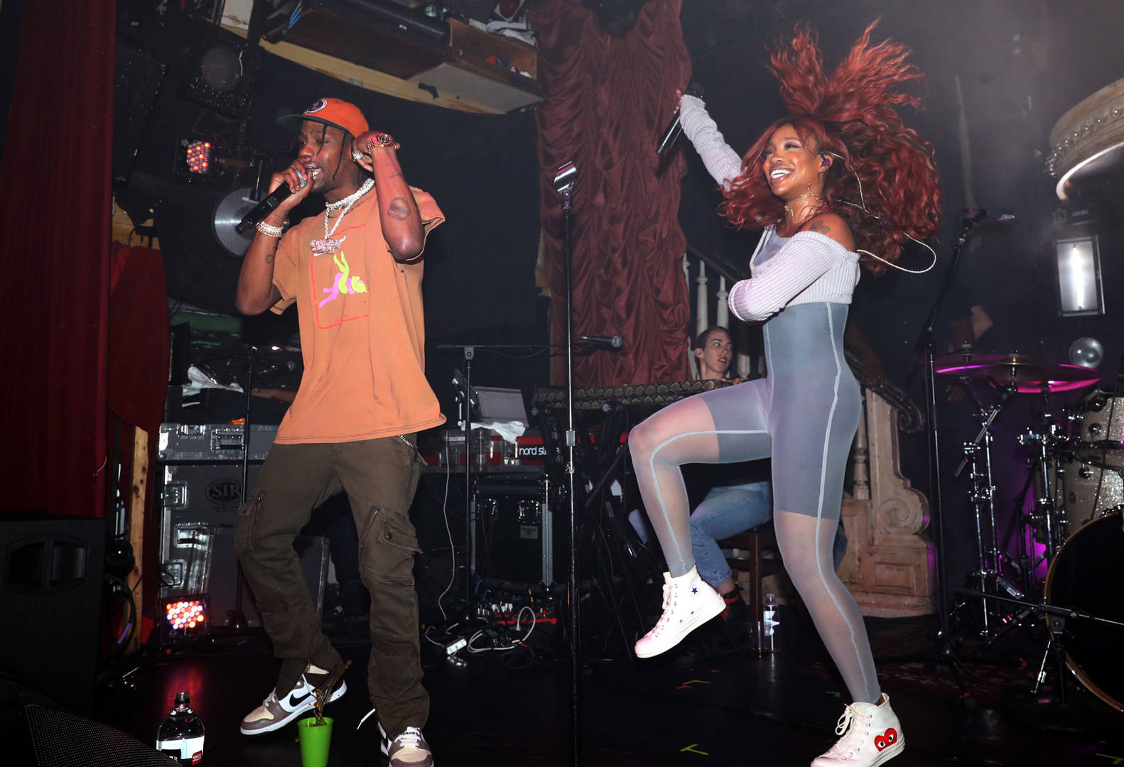 Travis Scott (L) and SZA perform at The Box on October 10, 2017 in New York City