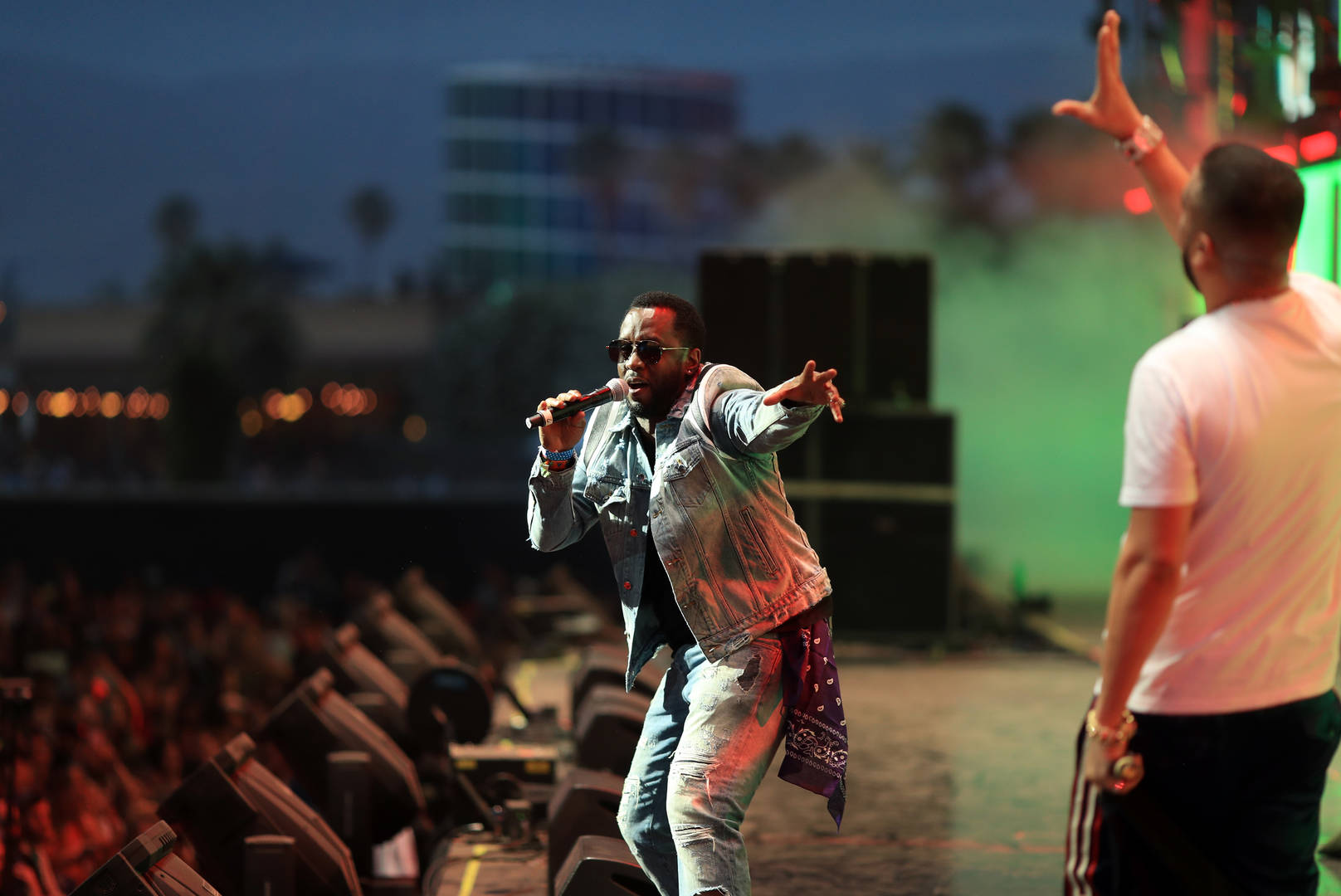 """Sean """"Diddy"""" Combs performs with French Montana onstage during the 2018 Coachella Valley Music and Arts Festival Weekend 1 at the Empire Polo Field on April 15, 2018 in Indio, California."""