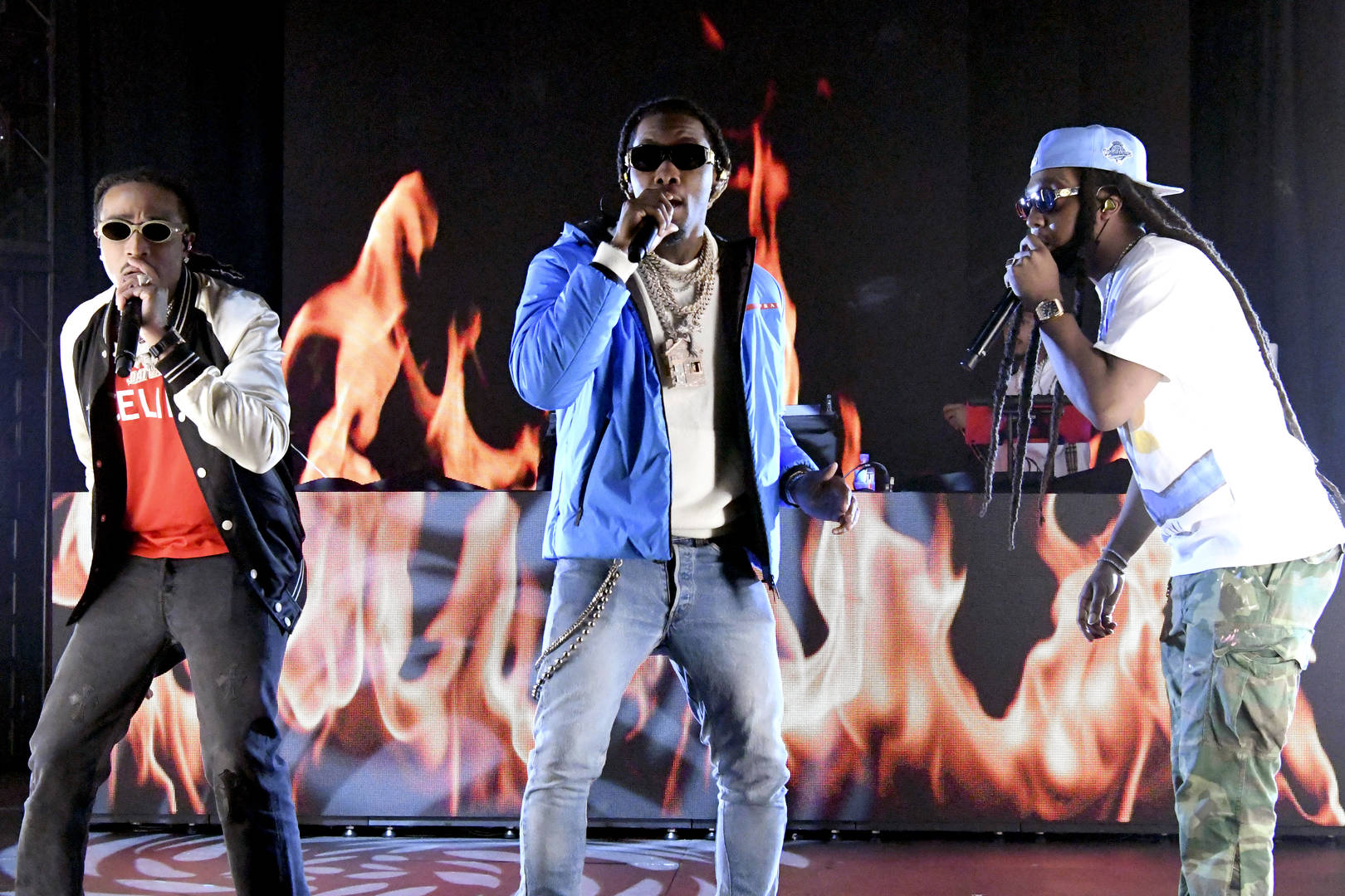 Quavo, Offset, and Takeoff of Migos perform during The SHAQ Bowl for Super Bowl LV on February 07, 2021 in Tampa, Florida.