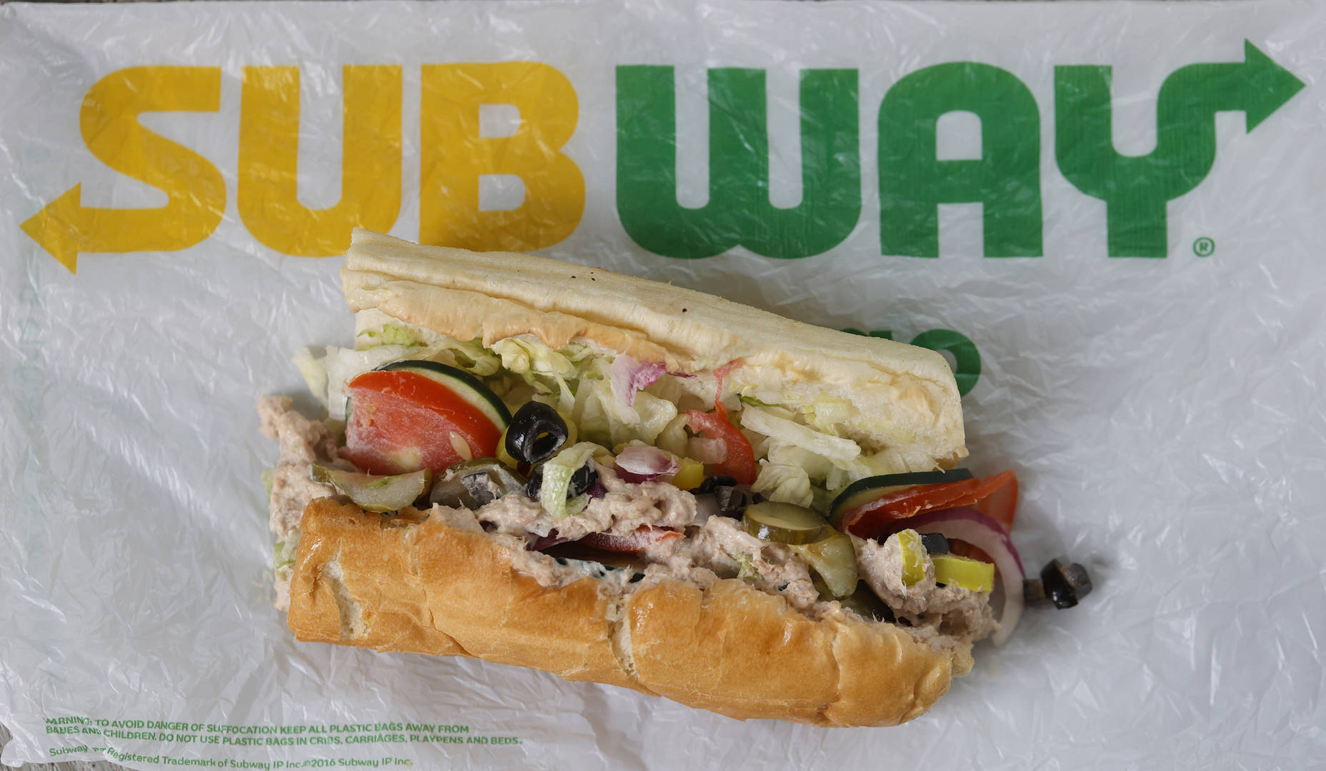 A tuna sandwich from Subway is displayed on June 22, 2021 in San Anselmo, California. A recent lab analysis of tuna used in Subway sandwiches commissioned by the New York Times did not reveal any tuna DNA in samples taken from Subway tuna sandwiches. The lab was unable to pinpoint a species in the tuna samples from three Los Angeles area Subway sandwich shops.