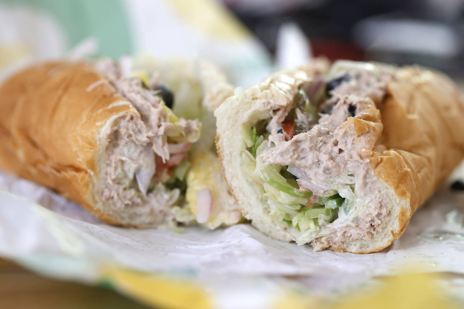tuna sandwich from Subway is displayed on June 22, 2021 in San Anselmo, California. A recent lab analysis of tuna used in Subway sandwiches commissioned by the New York Times did not reveal any tuna DNA in samples taken from Subway tuna sandwiches. The lab was unable to pinpoint a species in the tuna samples from three Los Angeles area Subway sandwich shops.