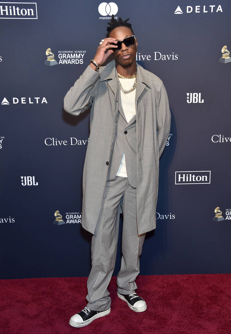 """Joey Bada$$ attends the Pre-GRAMMY Gala and GRAMMY Salute to Industry Icons Honoring Sean """"Diddy"""" Combs on January 25, 2020 in Beverly Hills, California."""
