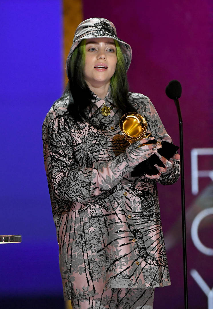 Billie Eilish accepts the Record of the Year award for 'Everything I Wanted' onstage during the 63rd Annual GRAMMY Awards at Los Angeles Convention Center on March 14, 2021 in Los Angeles, California.