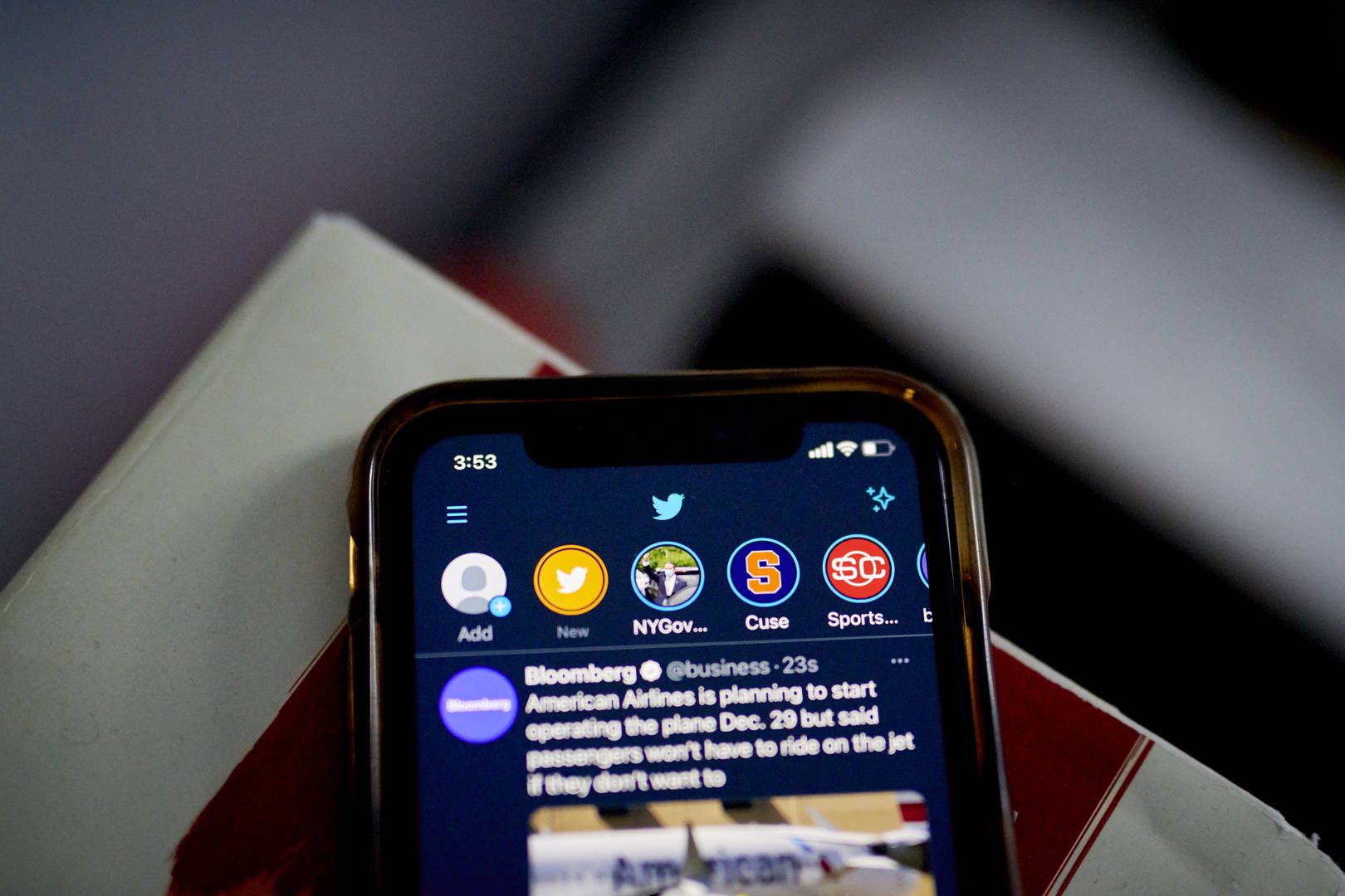 """The Twitter Fleets feature, top, on a smartphone arranged in New York, U.S., on Wednesday, Nov. 18, 2020. Twitter Inc.is slowing the rollout ofFleets, its Snapchat-like tool for posting disappearing stories, because of """"performance and stability problem"""" that were hurting functionality."""