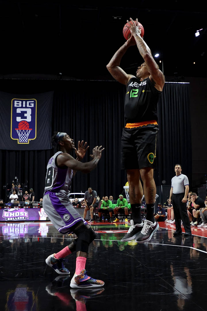Shannon Brown #12 of the Aliens attempts a shot while being guarded by Mike Taylor #88 of the Ghost Ballers during BIG3 - Week One at the Orleans Arena on July 10, 2021 in Las Vegas, Nevada.