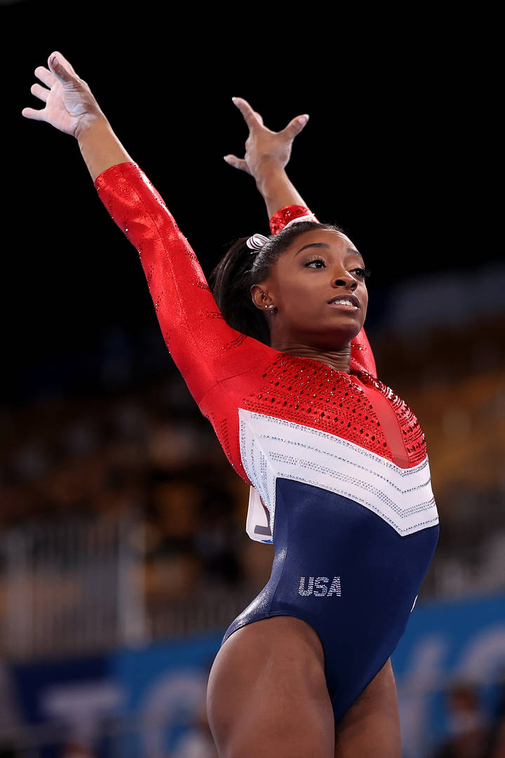 Simone Biles of Team United States competes in vault during the Women's Team Final on day four of the Tokyo 2020 Olympic Games at Ariake Gymnastics Centre on July 27, 2021 in Tokyo, Japan.