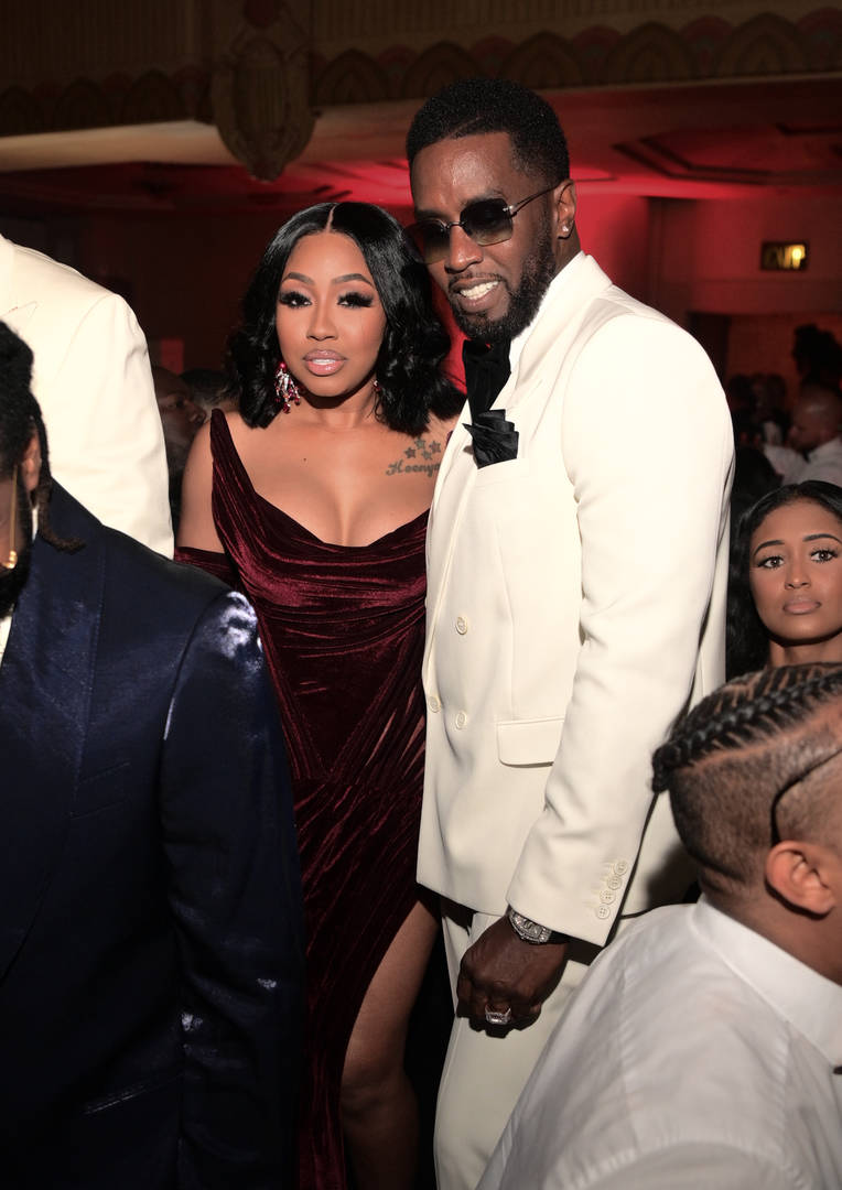"""Yung Miami and Sean """"Diddy"""" Combs attend Black Tie Affair for Quality Control's CEO Pierre Thomas, also know as Pee Thomas, at on June 2, 2021 in Atlanta, Georgia"""