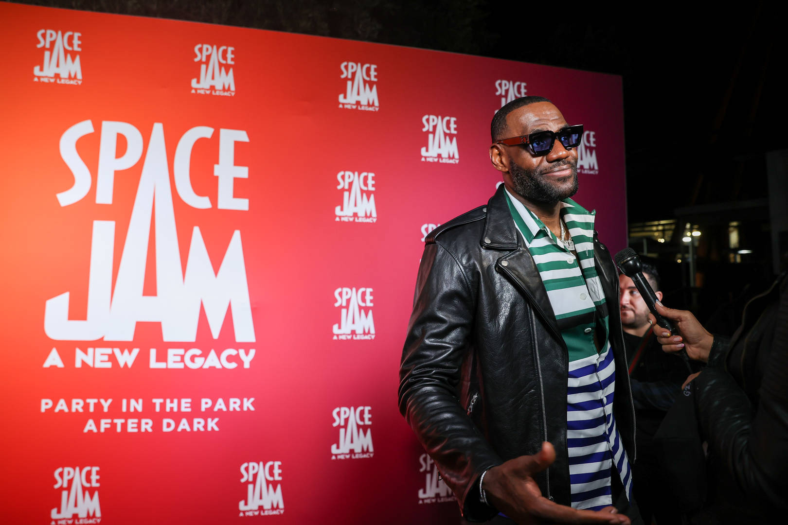 LeBron James attends the Space Jam: A New Legacy Party in The Park After Dark at Six Flags Magic Mountain on June 29, 2021 in Valencia, California.