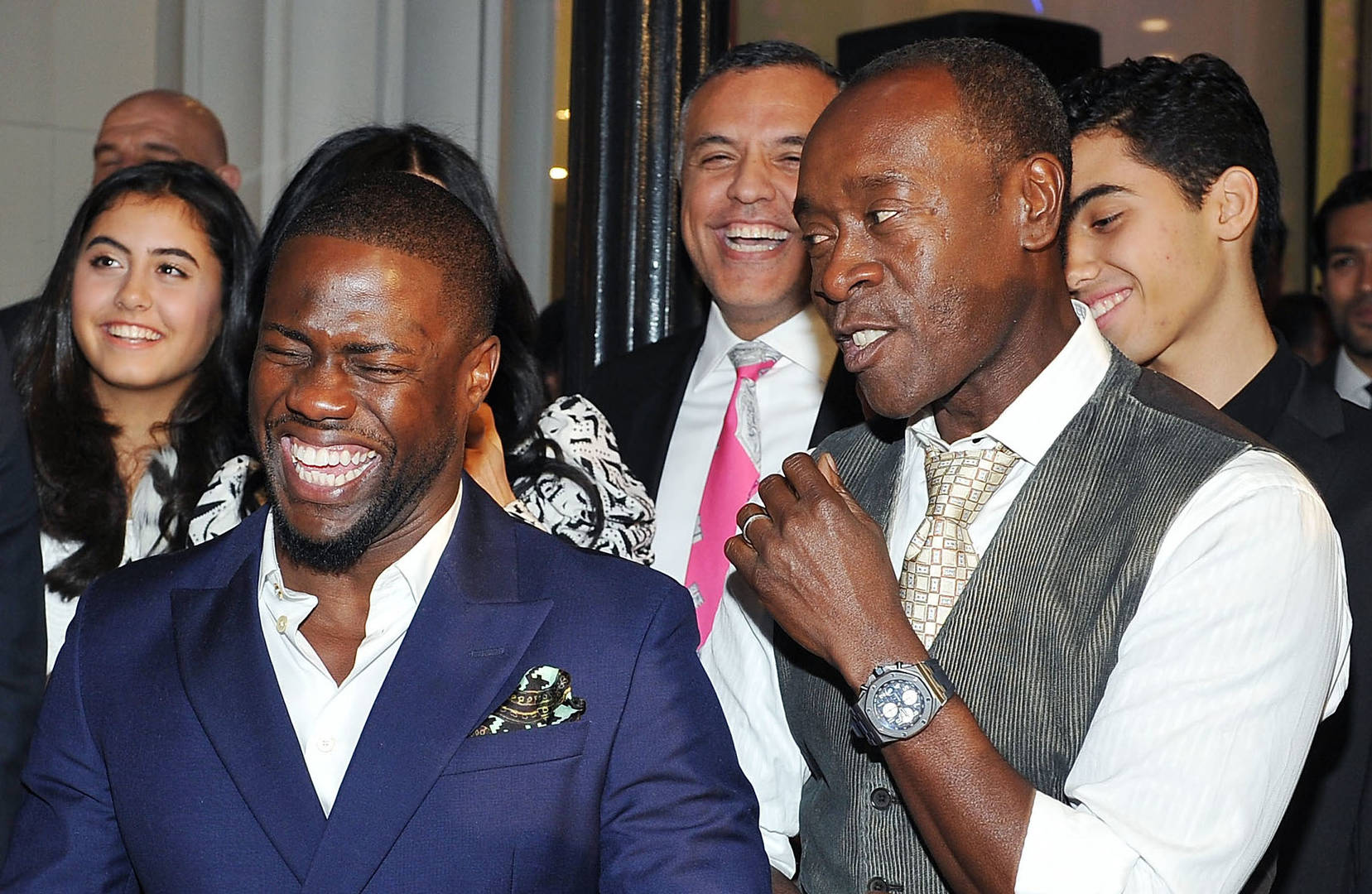 actor Kevin Hart and actor Don Cheadle attend Audemars Piguet Celebrates the opening of Audemars Piguet Rodeo Drive at Audemars Piguet on December 9, 2015 in Beverly Hills, California.