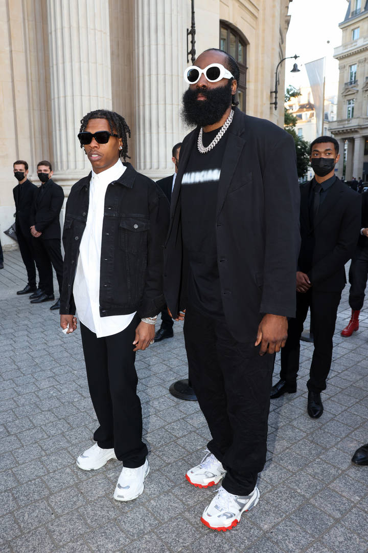 Lil Baby and James Harden are seen arriving at a Balenciaga dinner at the Bourse De Commerce Pinault Collection on July 07, 2021 in Paris, France.