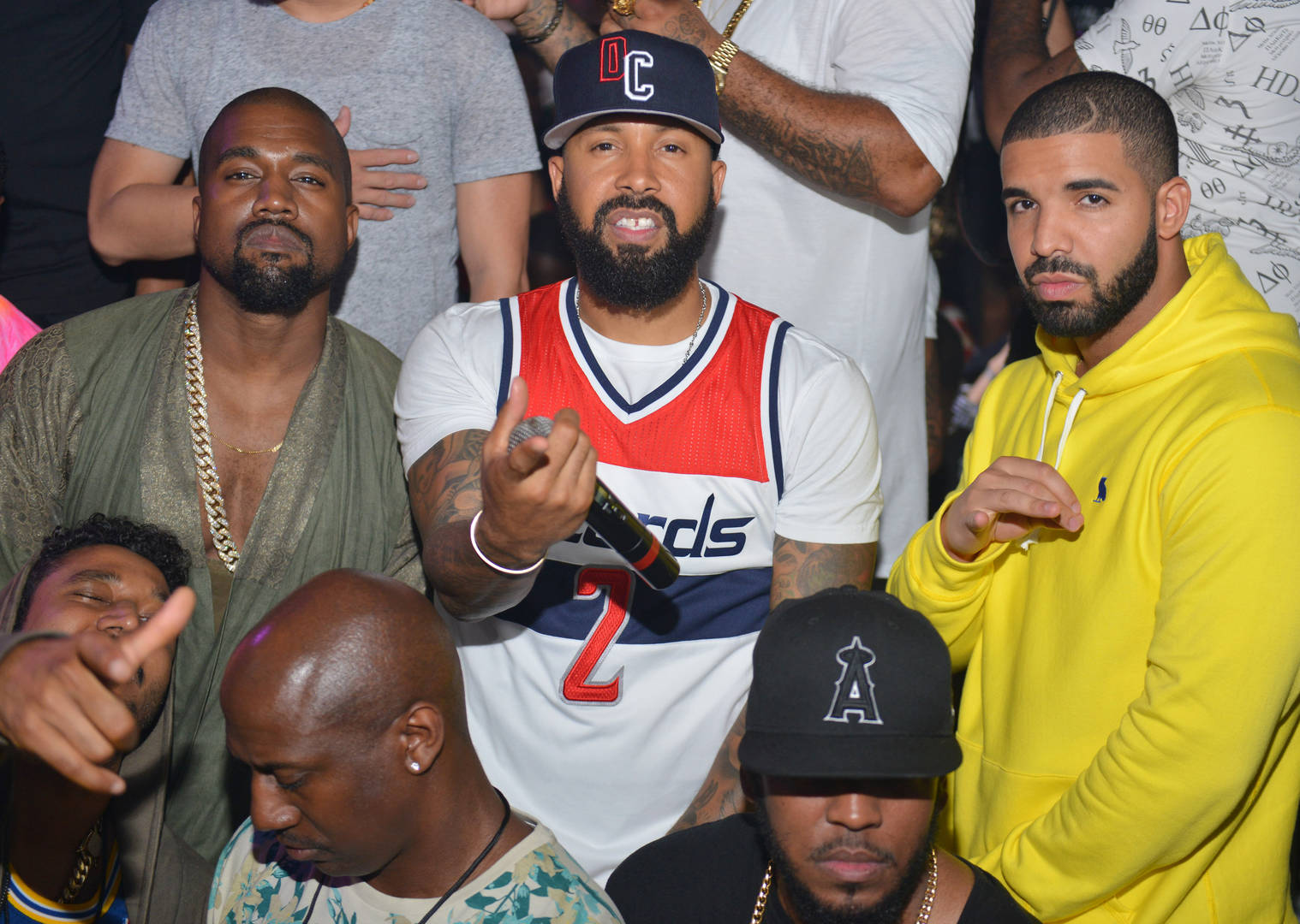 Kanye West, Kenny Burns and Drake attend at Compound on June 20, 2015 in Atlanta, Georgia.