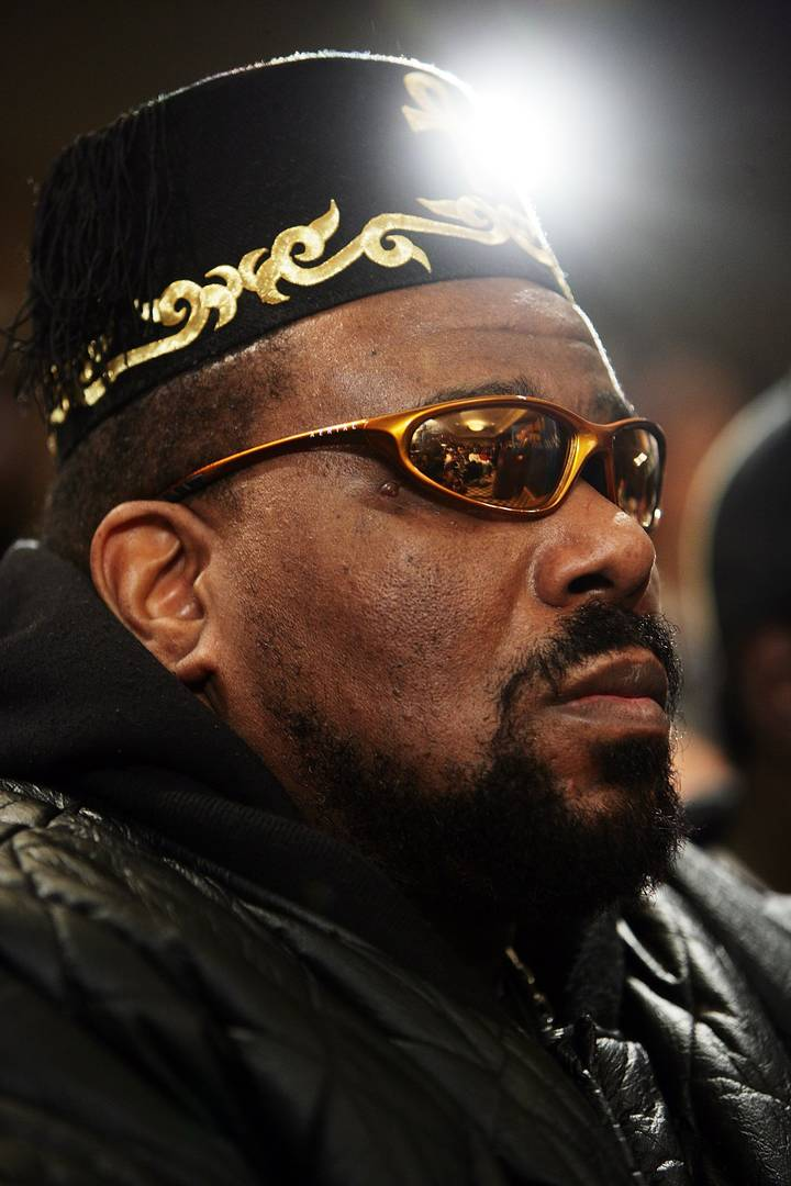 """Hip hop pioneer Afrika Bambaataa speaks during a press conference to announce the launch of The Smithsonian's """"Hip-Hop Won't Stop: The Beat, The Rhymes, The Life"""" at the Hilton Hotel February 28, 2006 in New York City."""