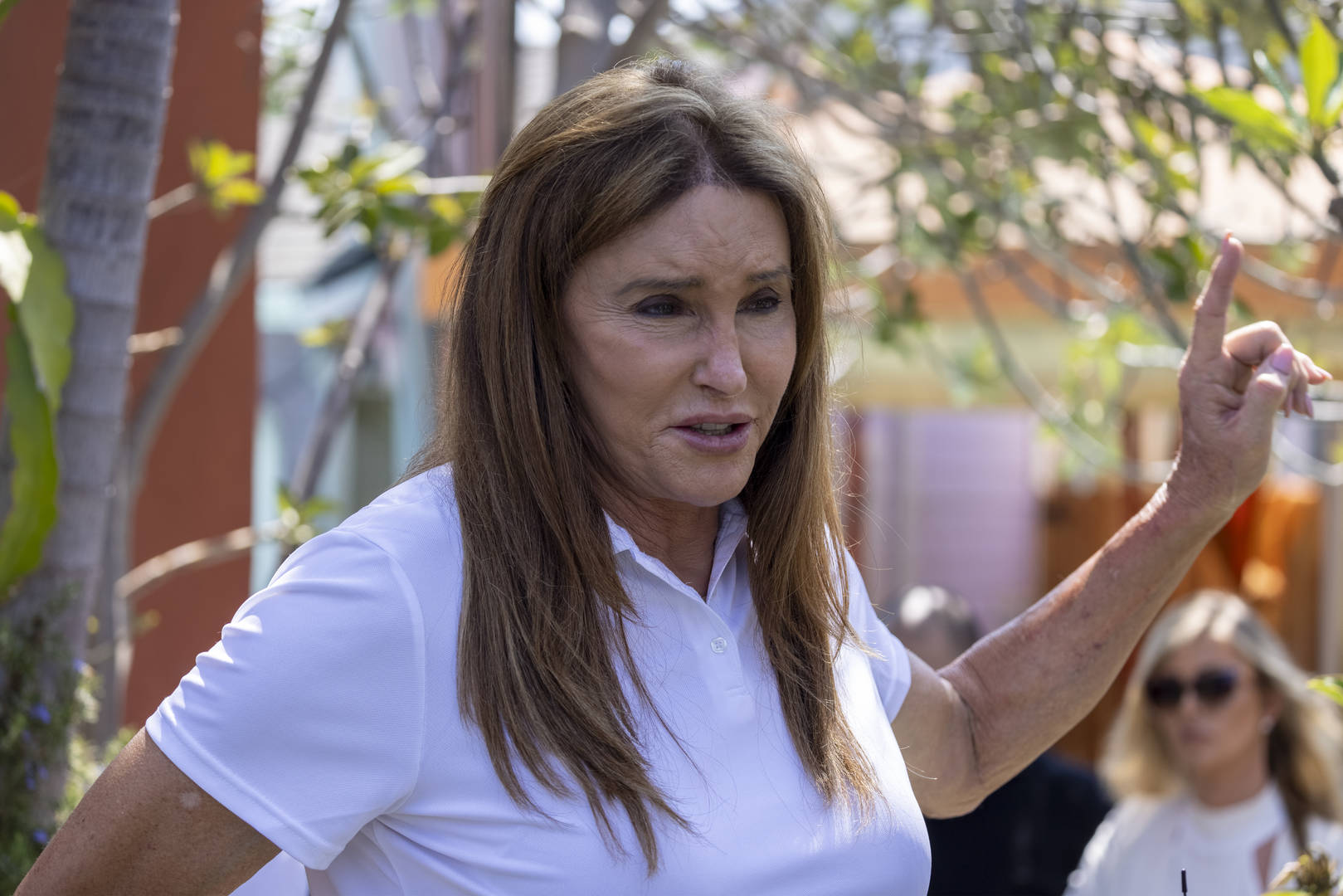 Gubernatorial candidate Caitlyn Jenner talks to reporters about homeless issues as she campaigns to overthrow California Gov. Gavin Newsom in an upcoming special recall election on August 12, 2021 in Venice, California. A well-funded campaign collected the needed 2 million pro-recall signatures that triggered the special election to be held on September 14, ahead of the regularly scheduled 2022 general election.