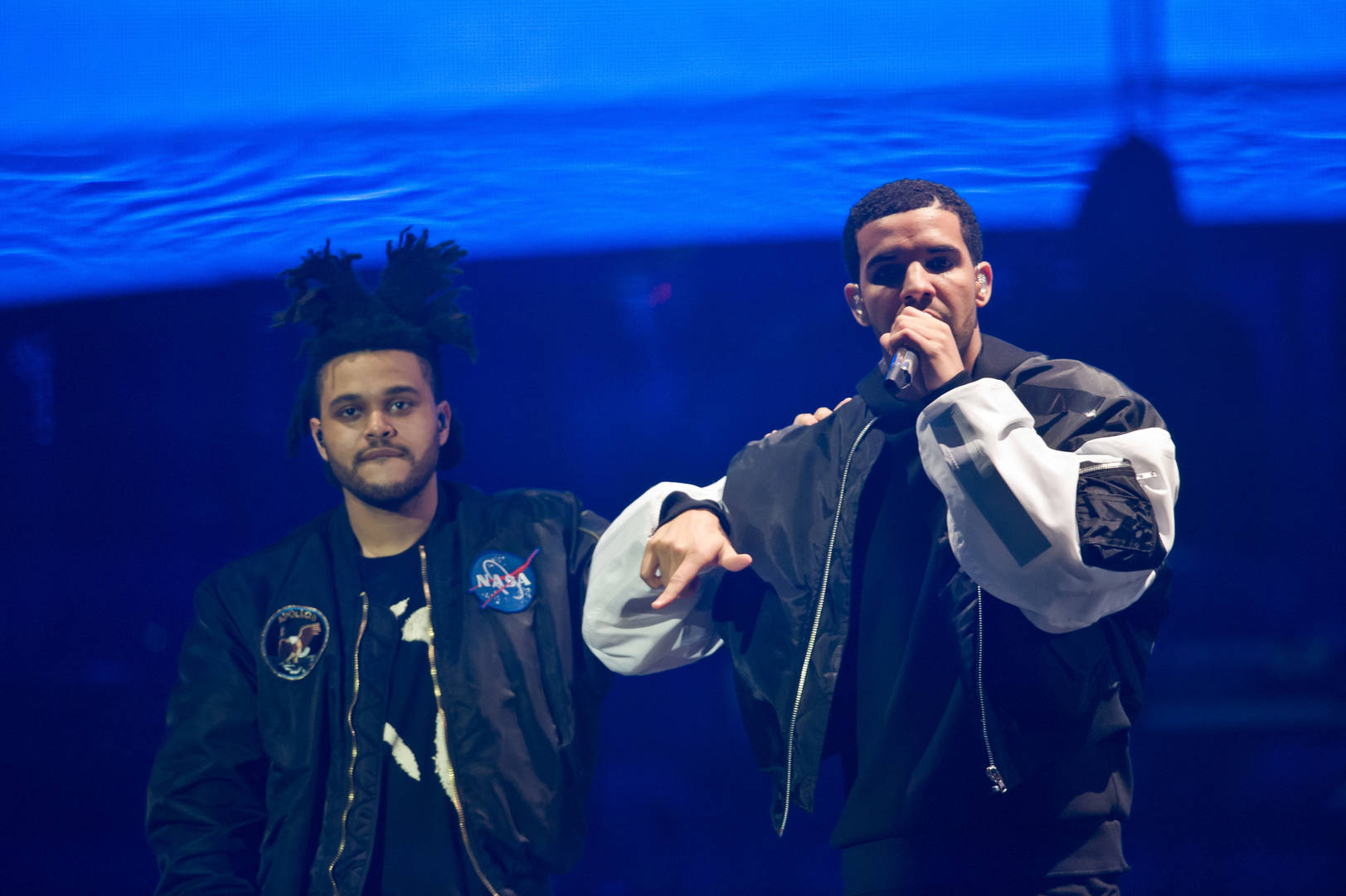 The Weeknd and Drake performs on stage at O2 Arena on March 24, 2014 in London, United Kingdom