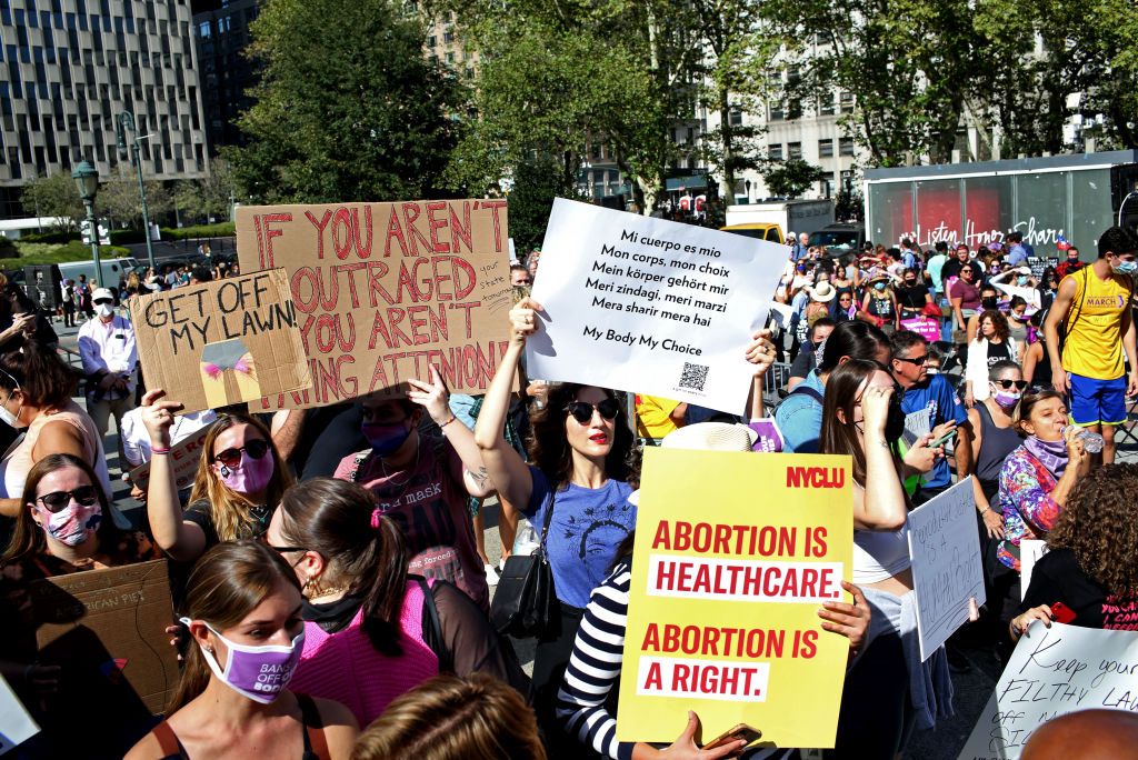 Crowds gather in Foley Square for the Women's March on October 2, 2021 in New York, New York. The Women's March and other groups organized marches across the country to protest the new abortion law in Texas.